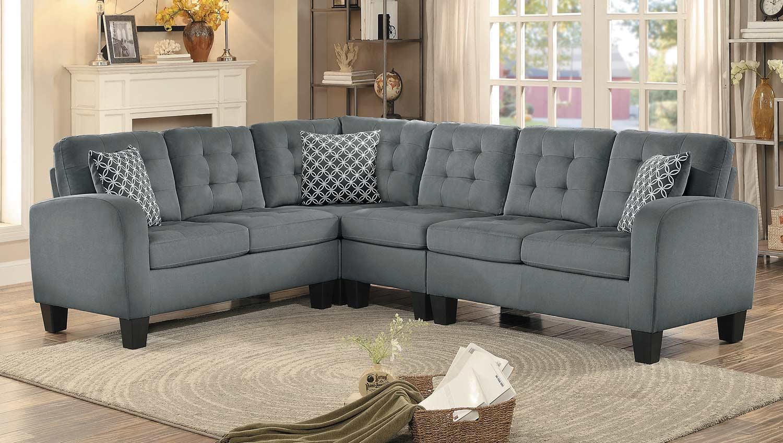 Homelegance Sinclair Reversible Sectional Sofa - Gray Fabric