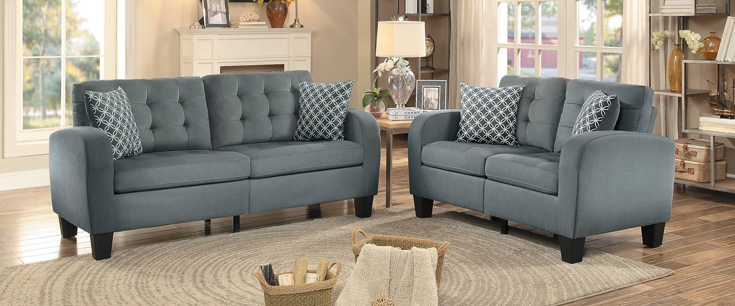 Homelegance Sinclair Sofa Set - Gray Fabric