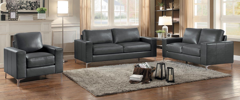 Homelegance Iniko Sofa Set - Gray Leather Gel Match