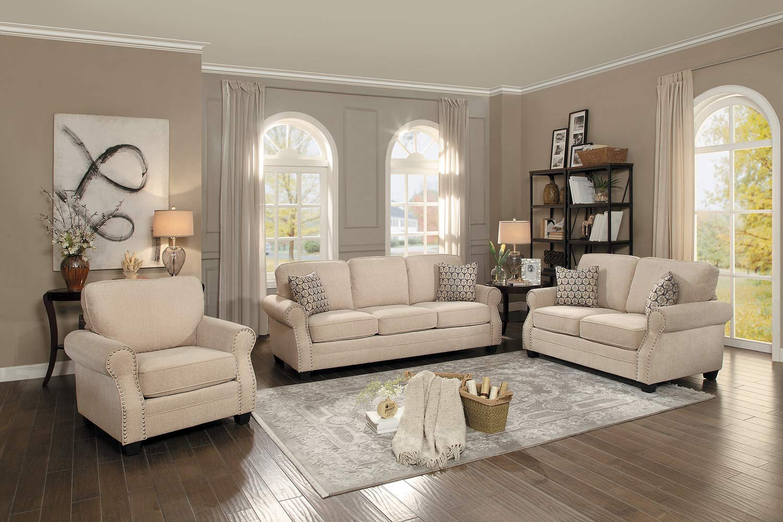 Homelegance Bechette Sofa Set - Natural Tone Fabric