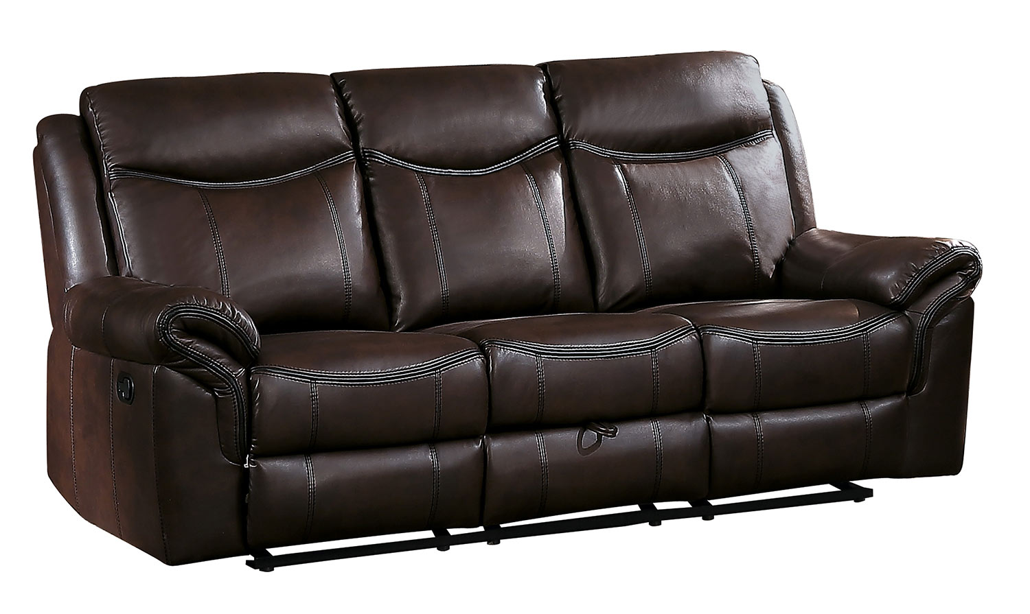 Homelegance Aram Double Reclining Sofa with Drop-Down Table and Center Storage Drawer - Dark Brown AireHyde Match