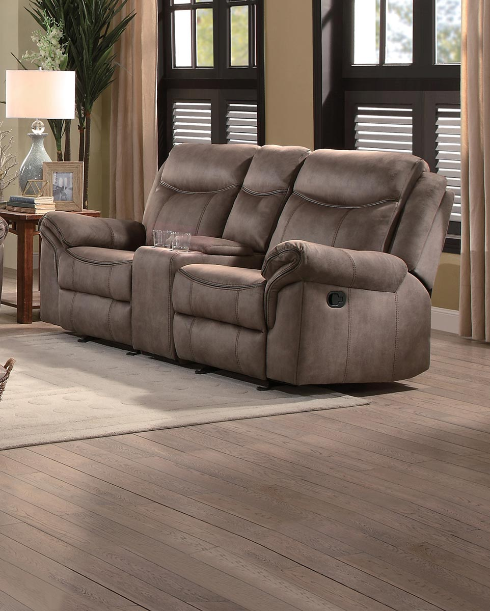 Homelegance Aram Double Glider Reclining Love Seat with Center Console and Receptacles - Brown Fabric