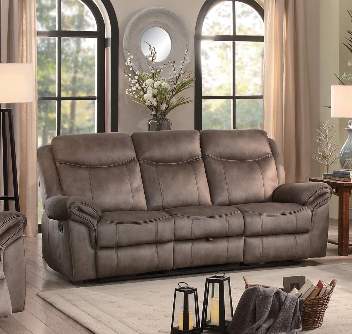 Homelegance Aram Double Reclining Sofa with Drop-Down Table and Center Storage Drawer - Brown Fabric