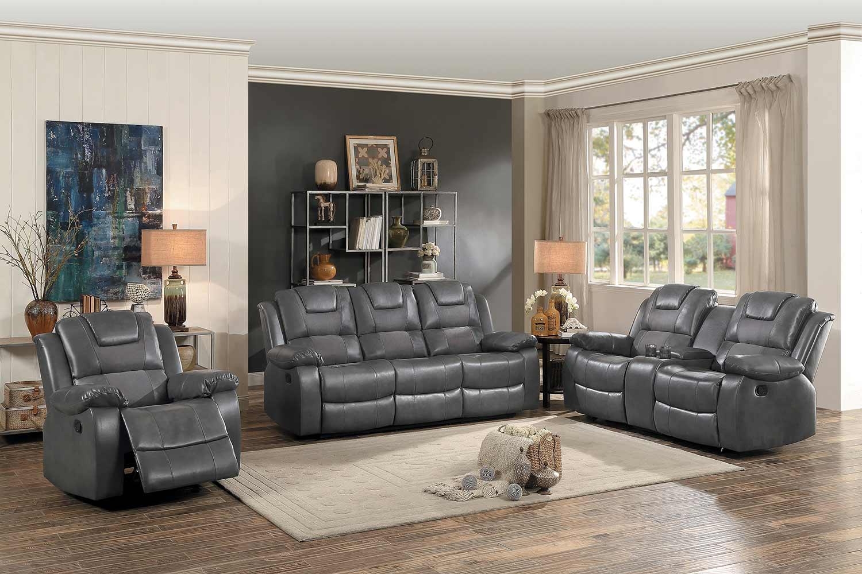 Homelegance Taye Reclining Sofa Set - Gray Leather Gel Match/fabric