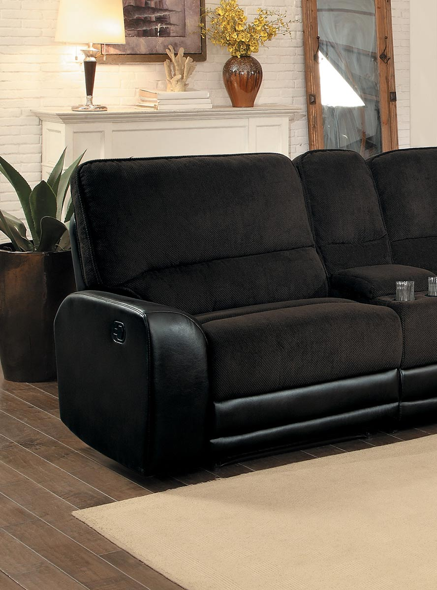 Homelegance Ynez Left Side Facing Reclining Chair - Chocolate Fabric/Leather Gel