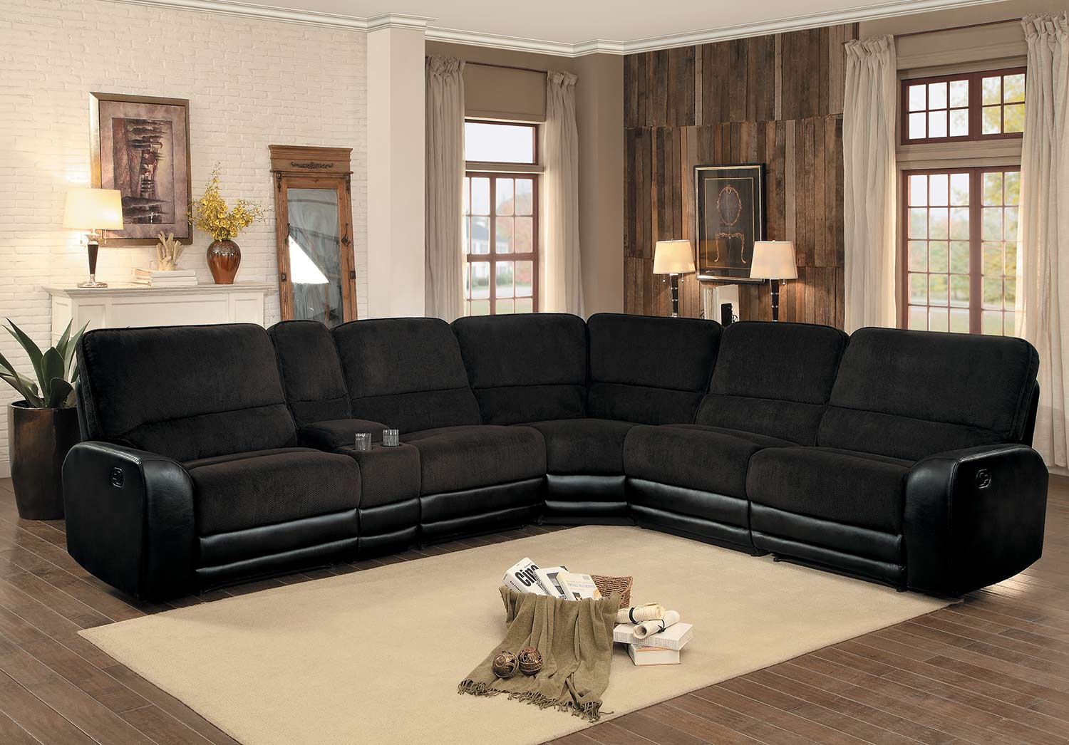 Homelegance Ynez Reclining Sectional Set - Chocolate Fabric/Leather Gel