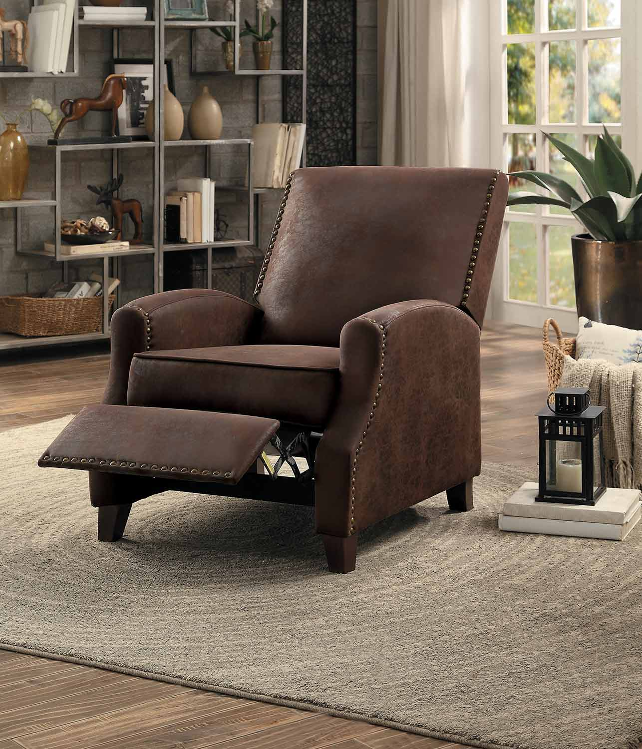 Homelegance Walden Push Back Reclining Chair - Brown Fabric