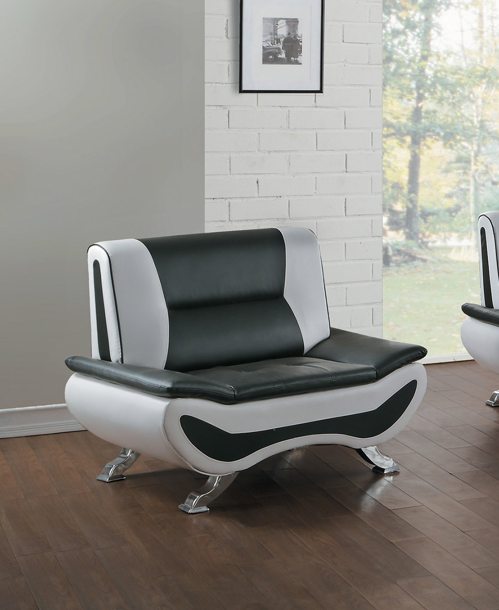 Homelegance Veloce Chair - Black/Ivory Bi-Cast Vinyl