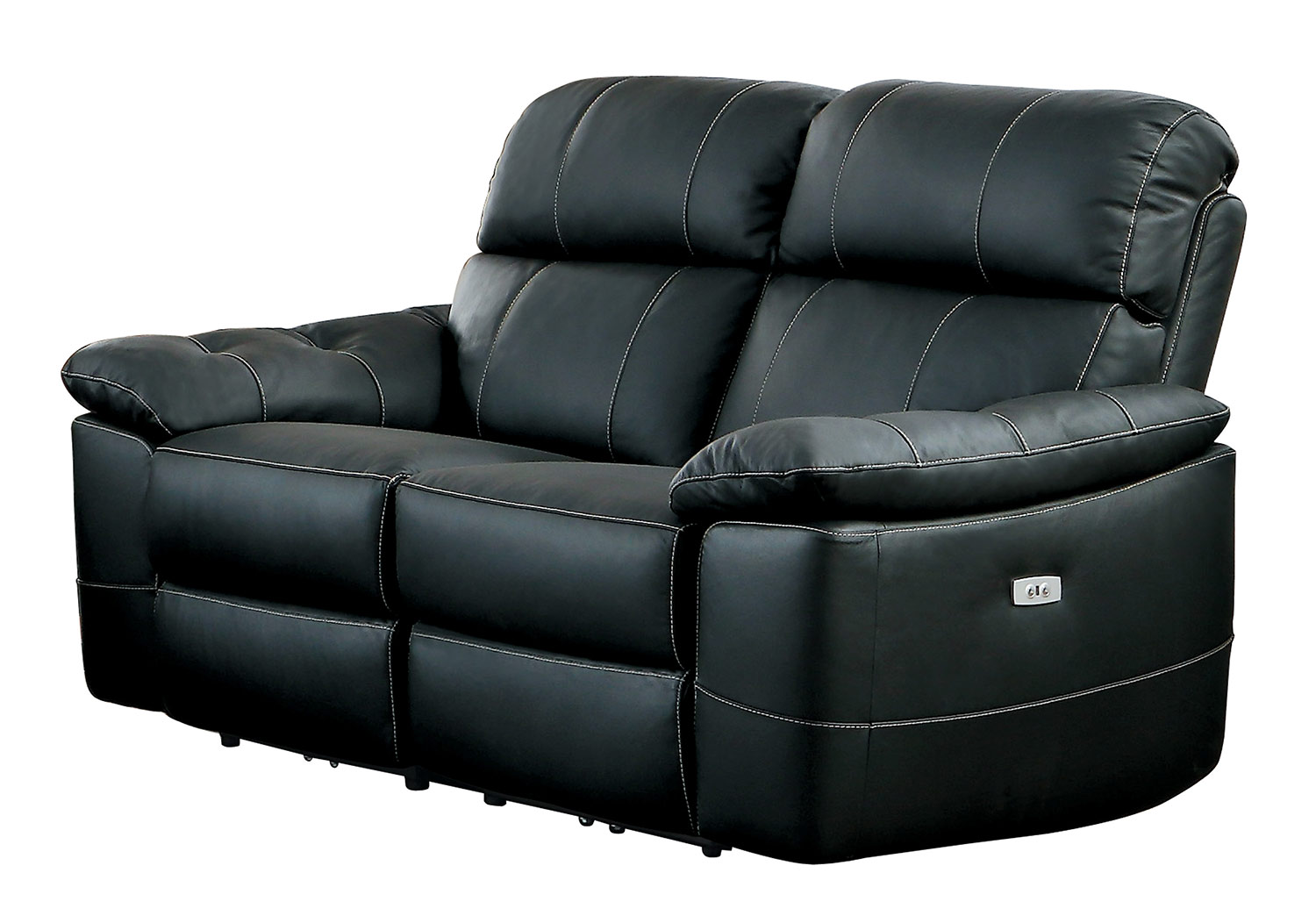 Homelegance Nicasio Power Double Reclining Love Seat - Black Leather