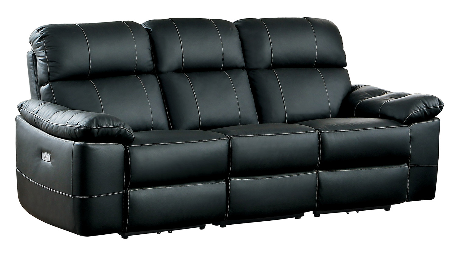 homelegance nicasio power double reclining sofa black leather - Black Leather Loveseat