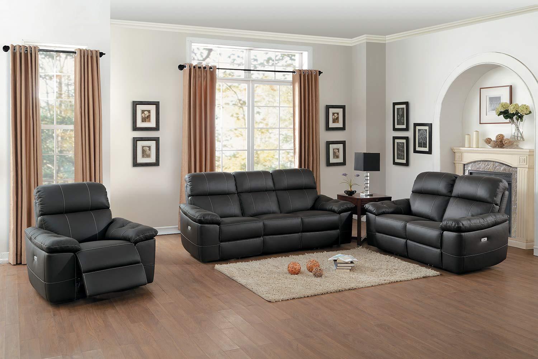 Homelegance Nicasio Power Reclining Sofa Set - Dark Brown Leather