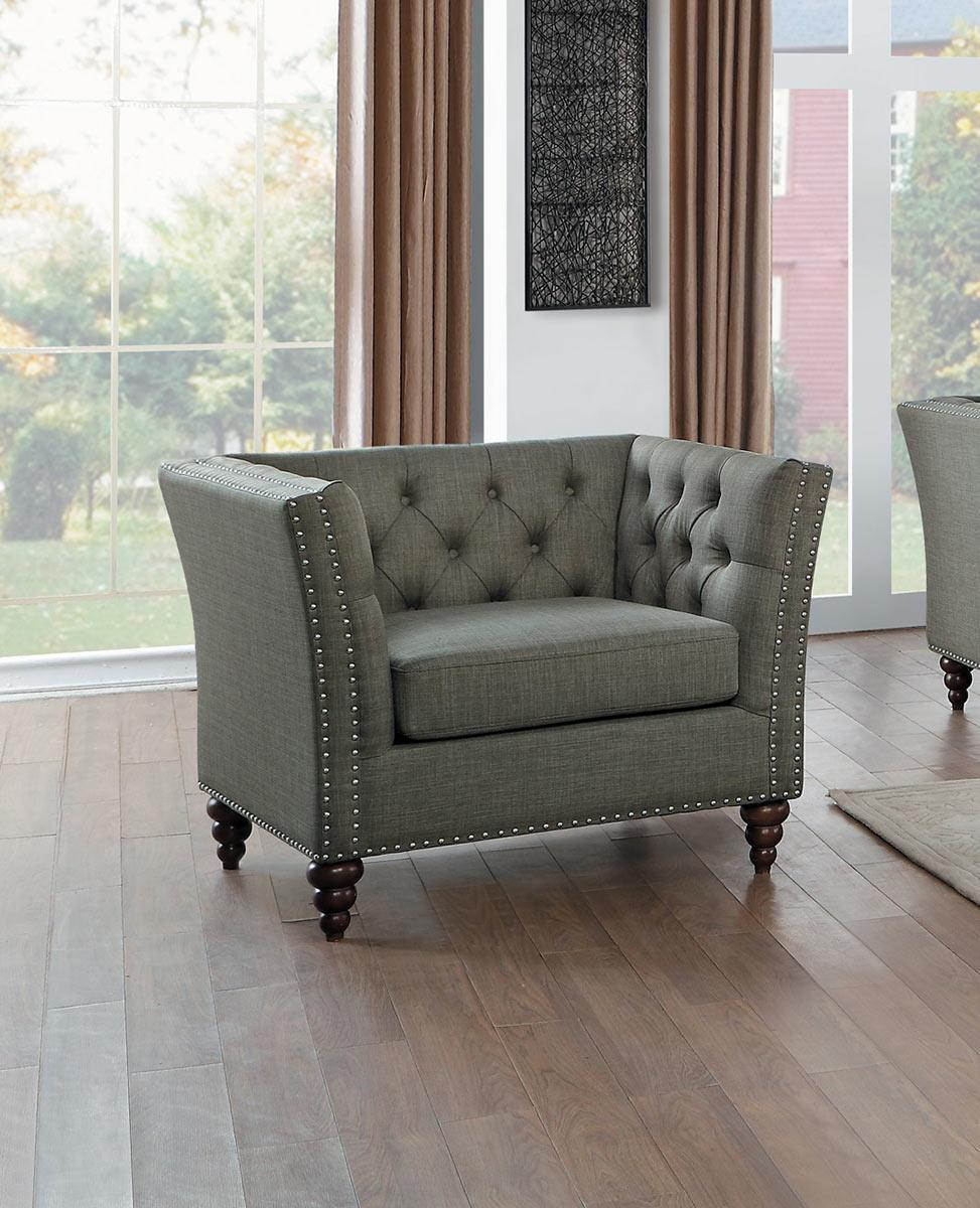 Homelegance Marceau Chair - Brown-Gray Fabric