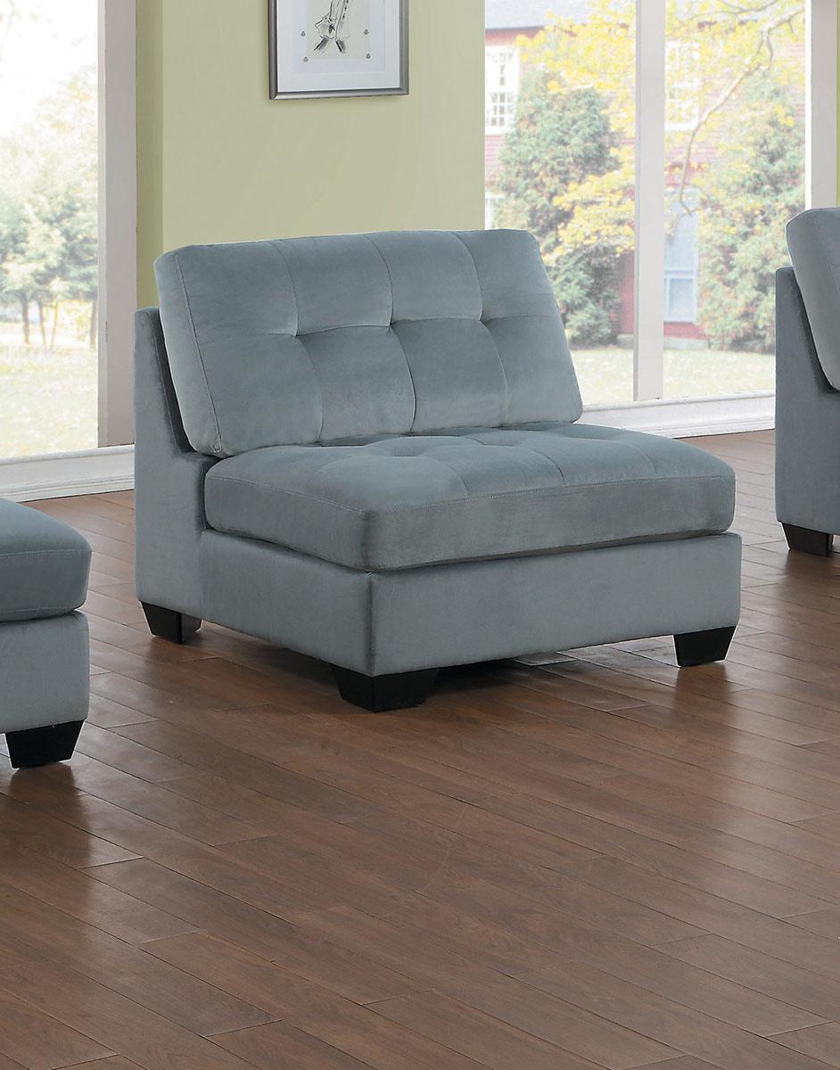 Homelegance Savarin Armless Chair - Light Gray Fabric