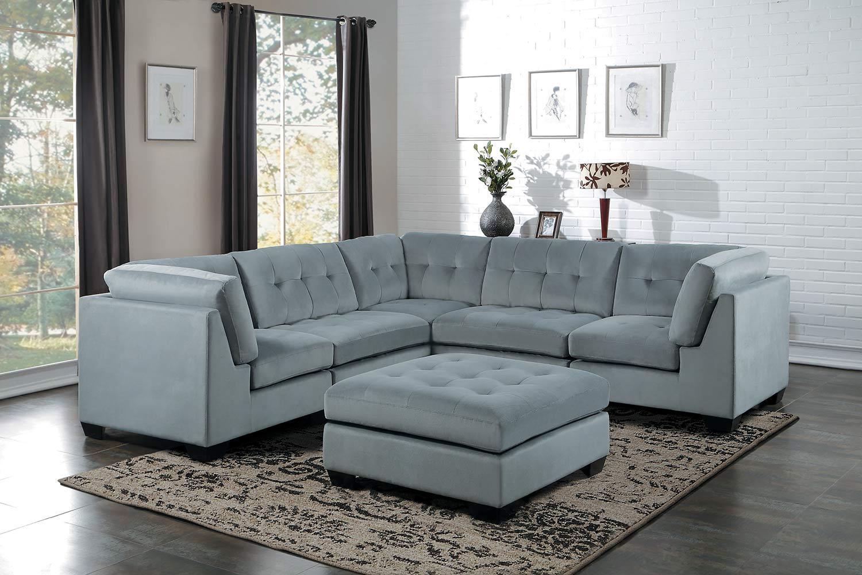 Homelegance Savarin Sectional Sofa Set - Light Gray Fabric