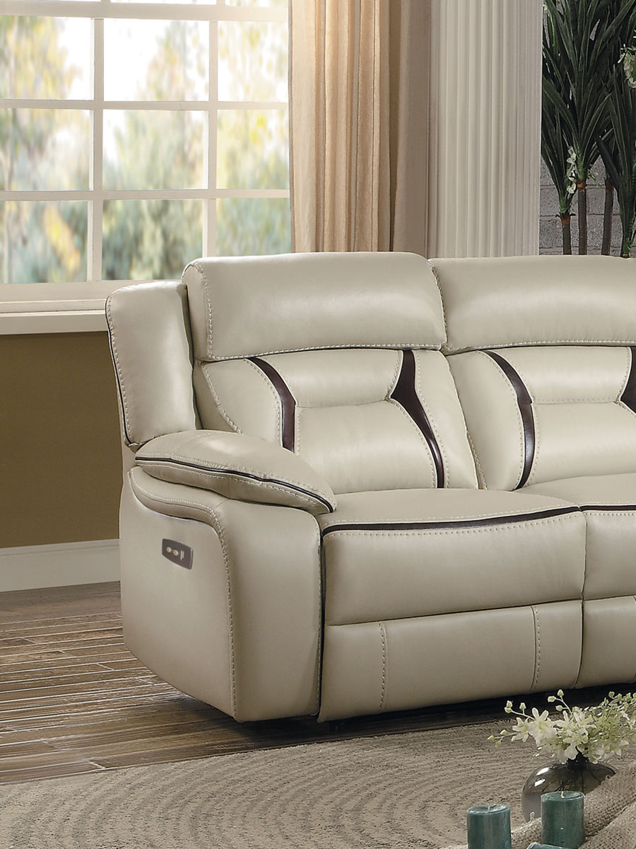 Homelegance Amite Power Left Side Facing Reclining Chair - Beige Leather Gel Match