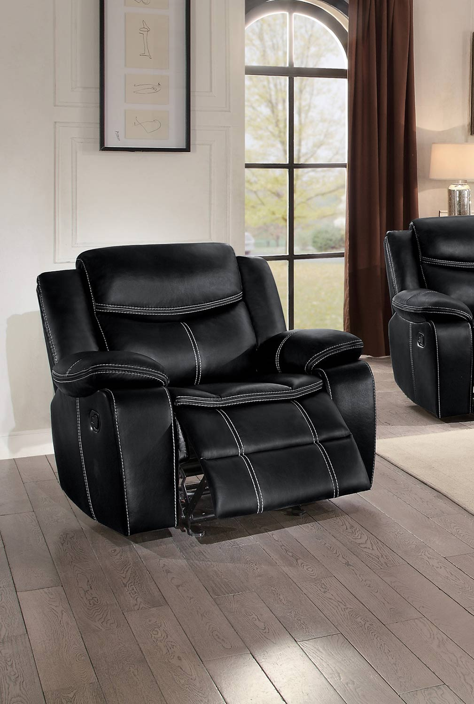 Homelegance Bastrop Glider Reclining Chair - Black Leather Gel Match