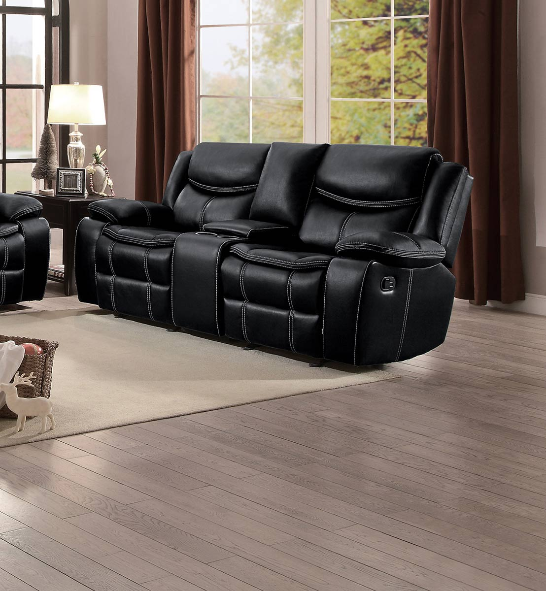 Homelegance Bastrop Double Glider Reclining Love Seat with Console - Black Leather Gel Match