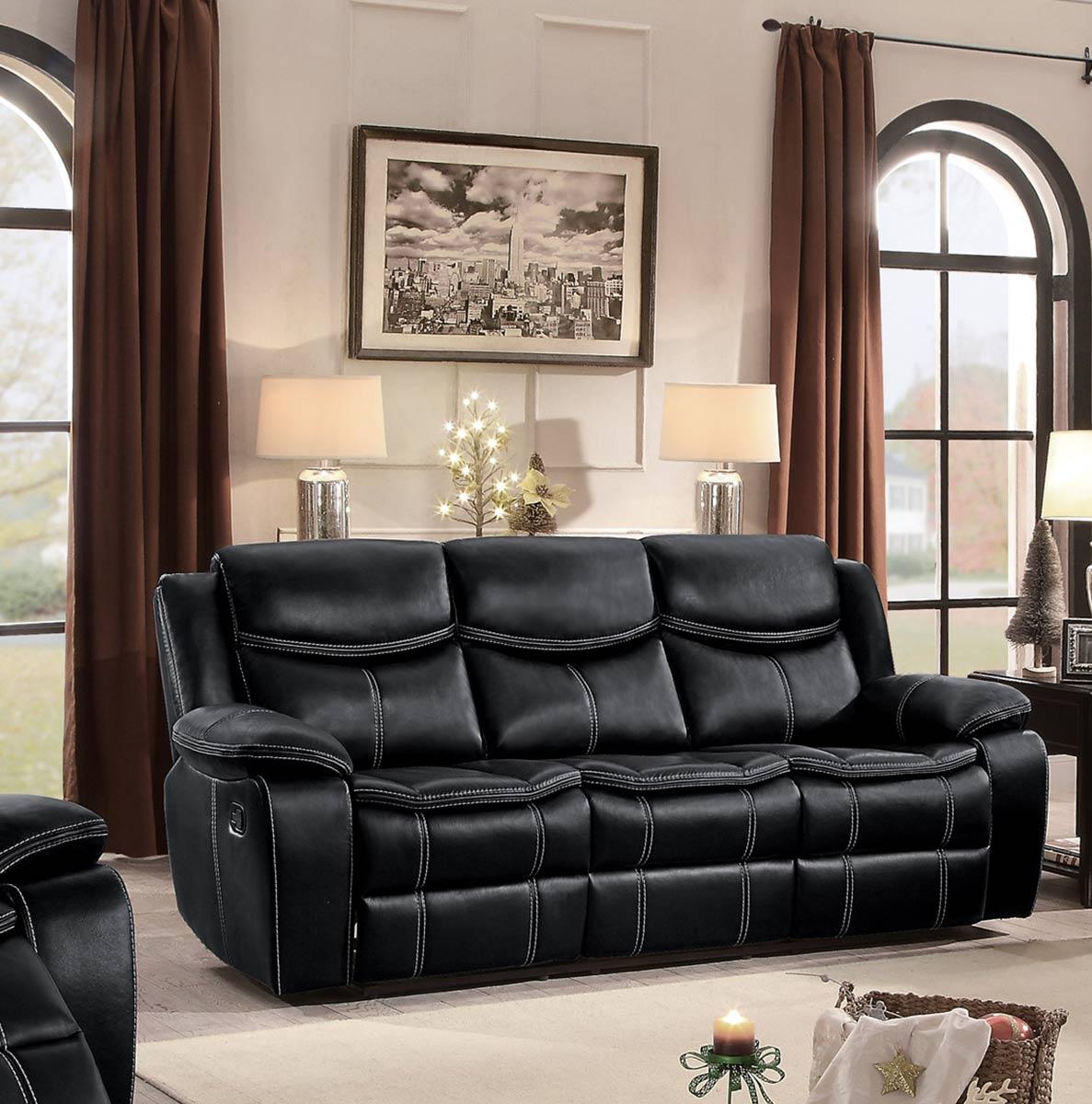 Homelegance Bastrop Double Reclining Sofa - Black Leather Gel Match