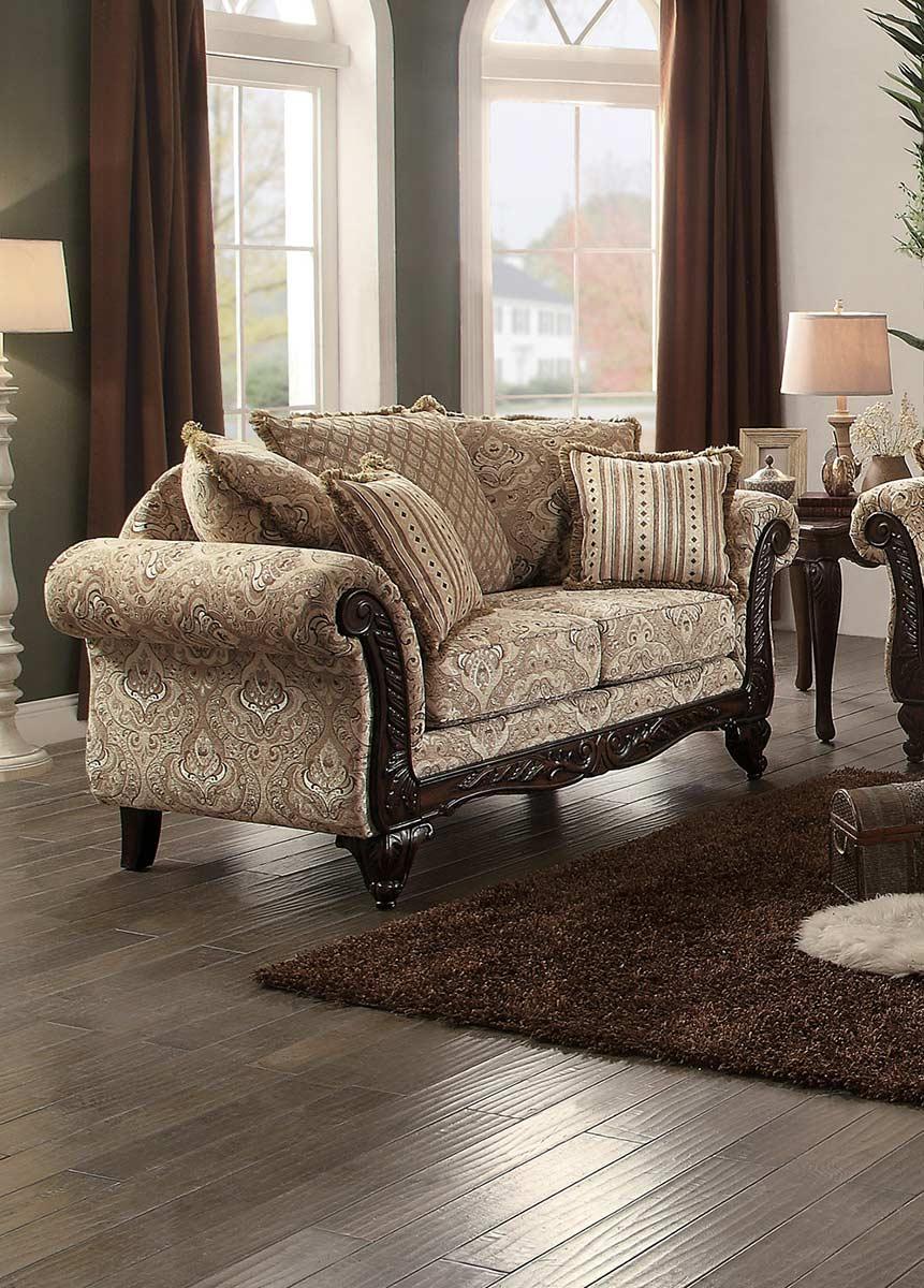 Homelegance Thibodaux Love Seat - Neutral Acanthus Print Fabric