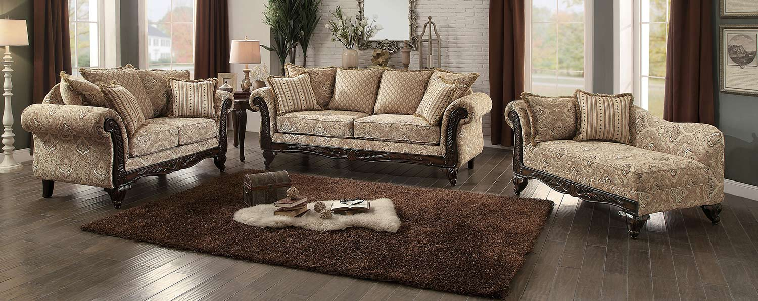 Genial Homelegance Thibodaux Sofa Set   Neutral Acanthus Print Fabric