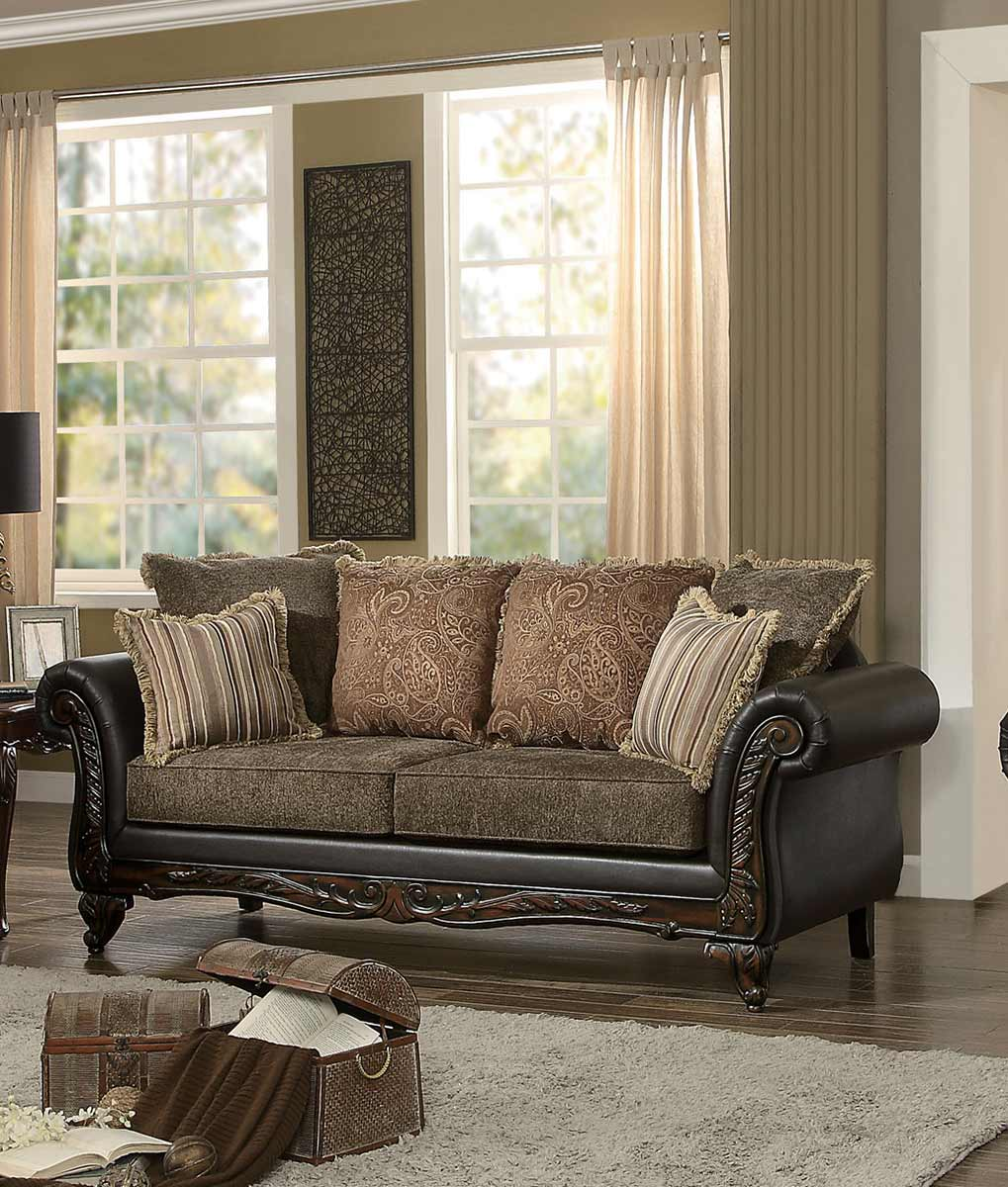 Homelegance Thibodaux Sofa - Brown Fabric/Dark Brown Bi-Cast Vinyl