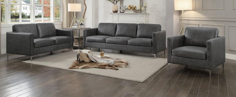 Homelegance Breaux Sofa Set - Gray Fabric