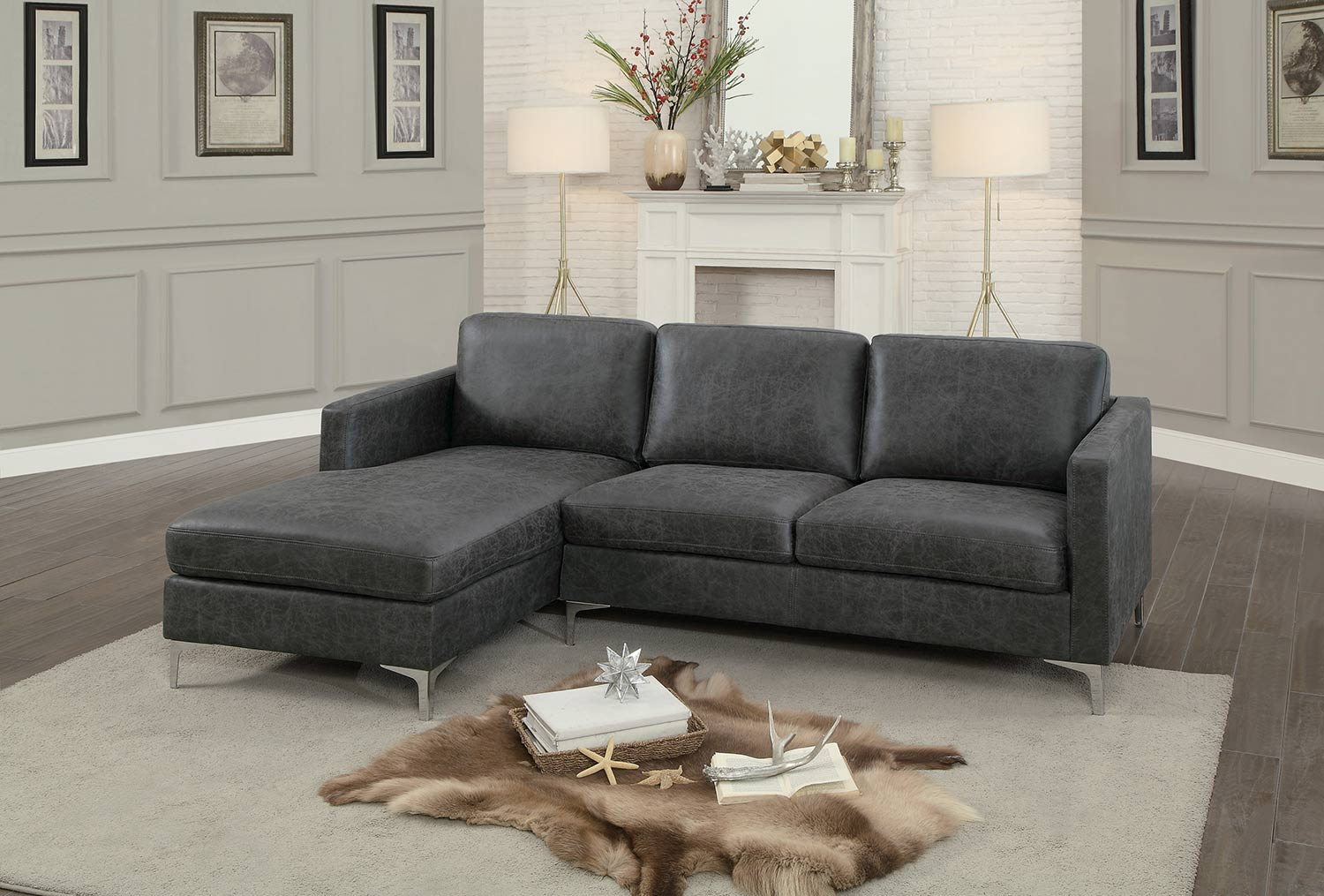 Homelegance Breaux Sectional Sofa   Gray Fabric