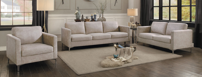 Homelegance Breaux Sofa Set - Sesame Fabric