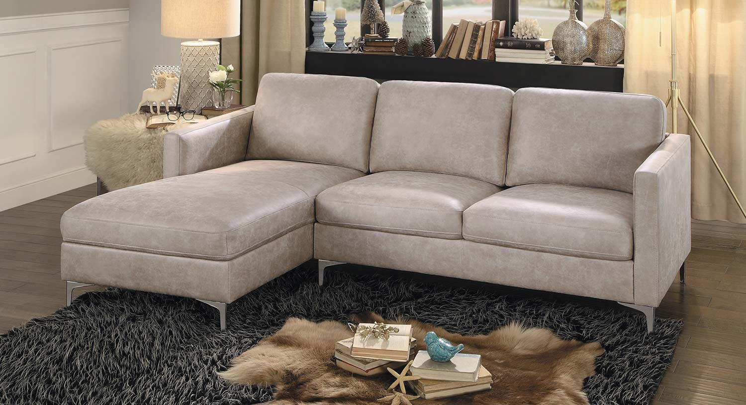Homelegance Breaux Sectional Sofa - Sesame Fabric