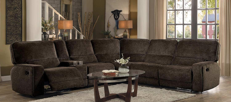 Homelegance Shreveport Reclining Sectional Set - Brown Fabric