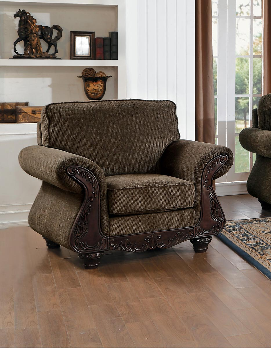 Homelegance Mandeville Chair - Brown Chenille