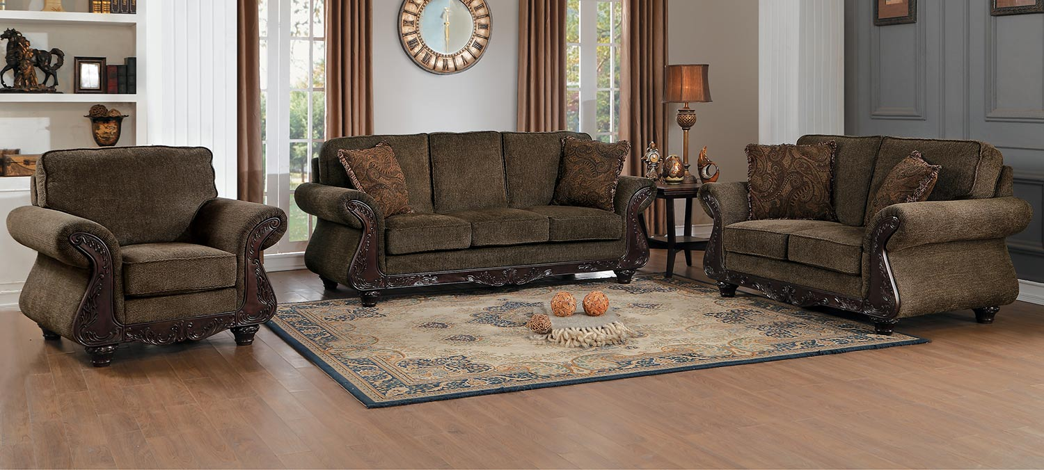 Homelegance Mandeville Sofa Set - Brown Chenille