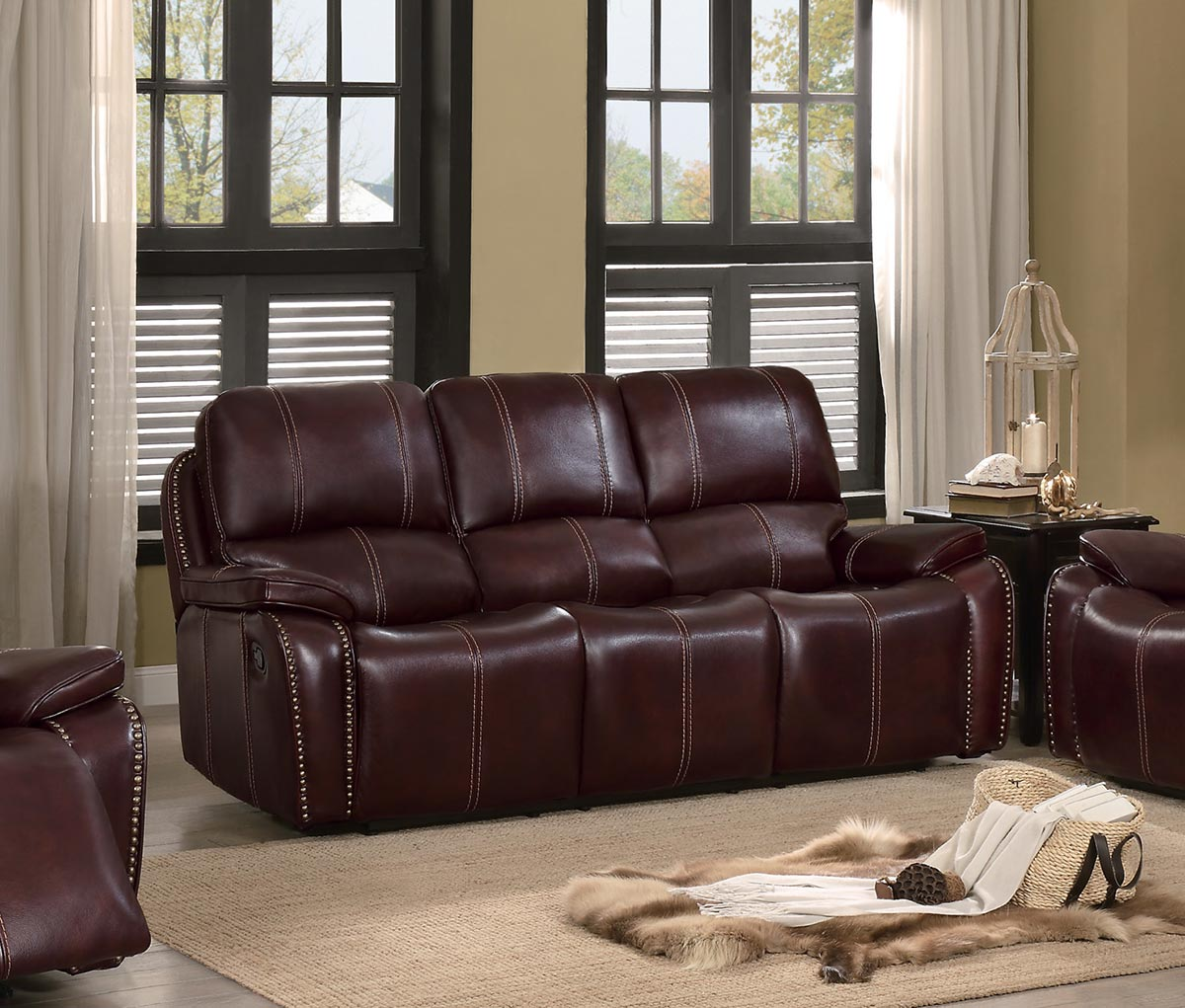 Homelegance Haughton Double Reclining Sofa - Brown Top Grain Leather Match