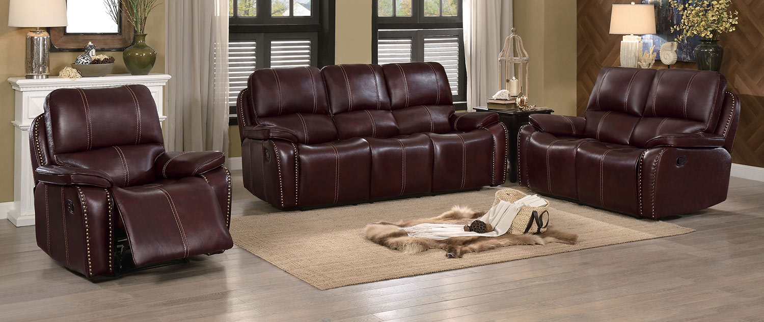 Homelegance Haughton Reclining Sofa Set - Brown Top Grain Leather Match