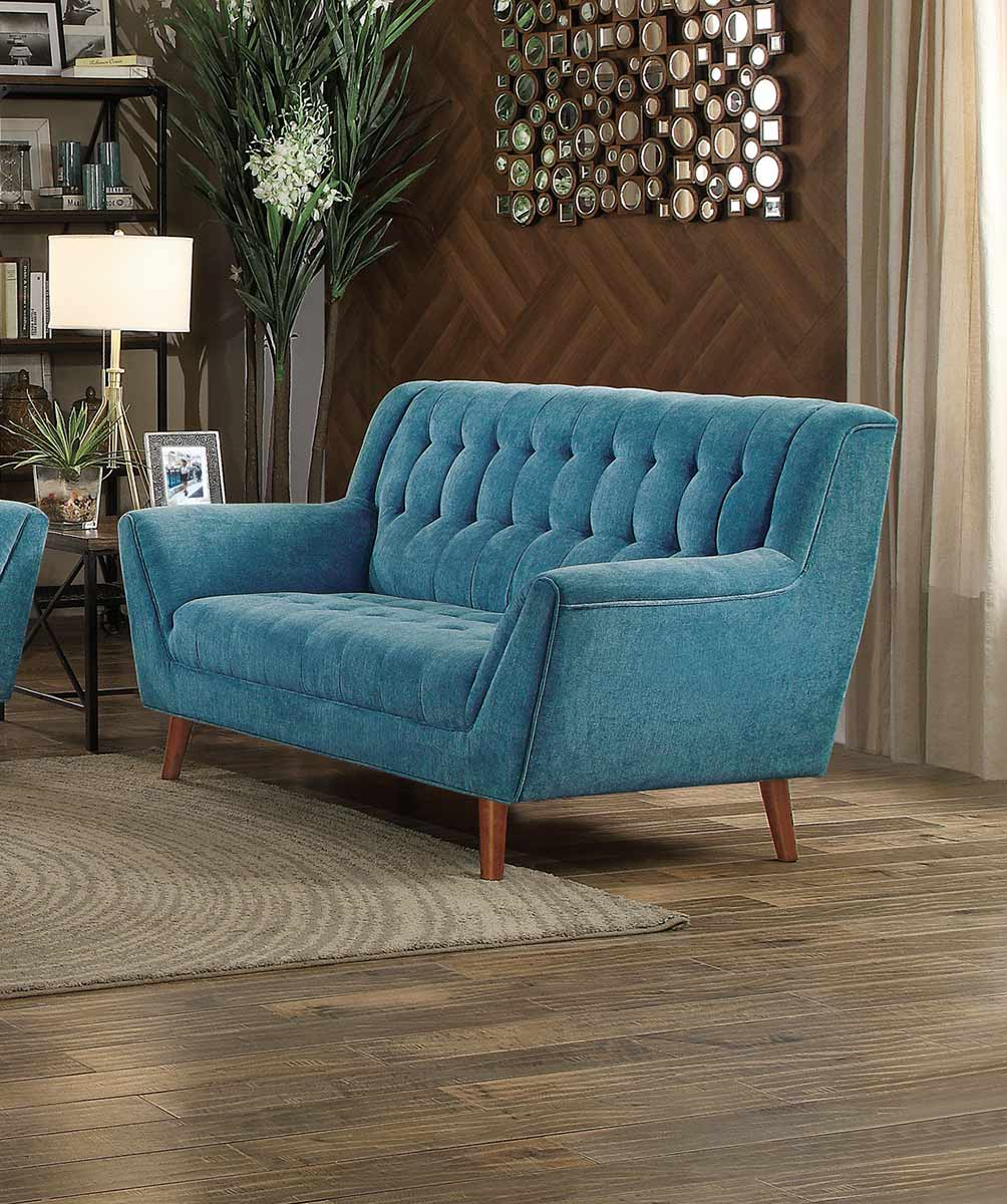Homelegance Erath Love Seat - Blue Fabric