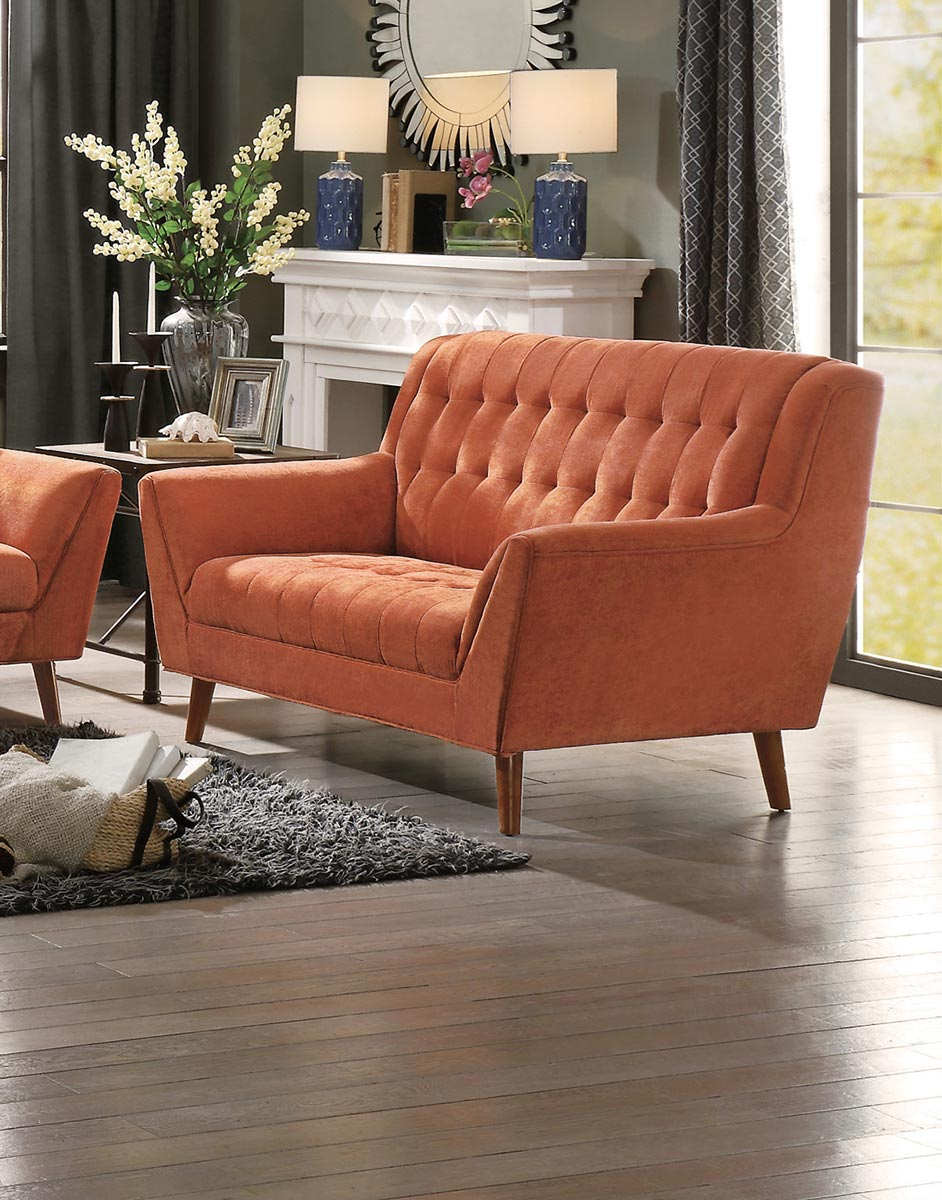 Homelegance Erath Love Seat - Orange Fabric