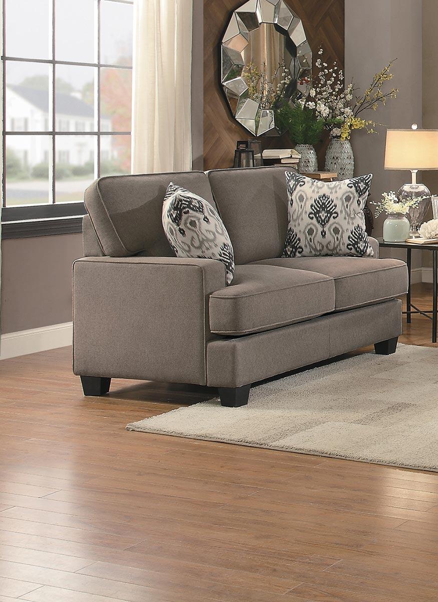Homelegance Kenner Love Seat - Brown Fabric