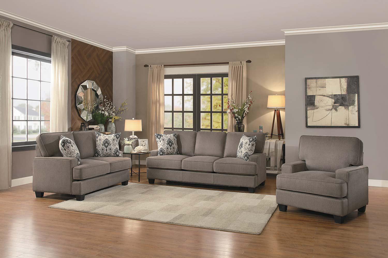 Homelegance Kenner Sofa Set - Brown Fabric