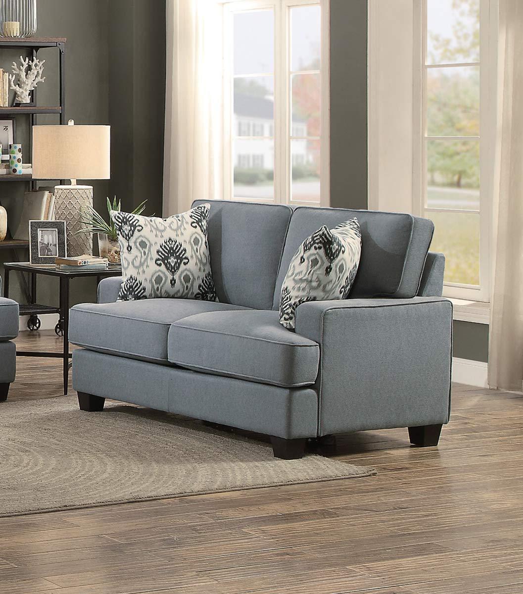 Homelegance Kenner Love Seat - Gray Fabric
