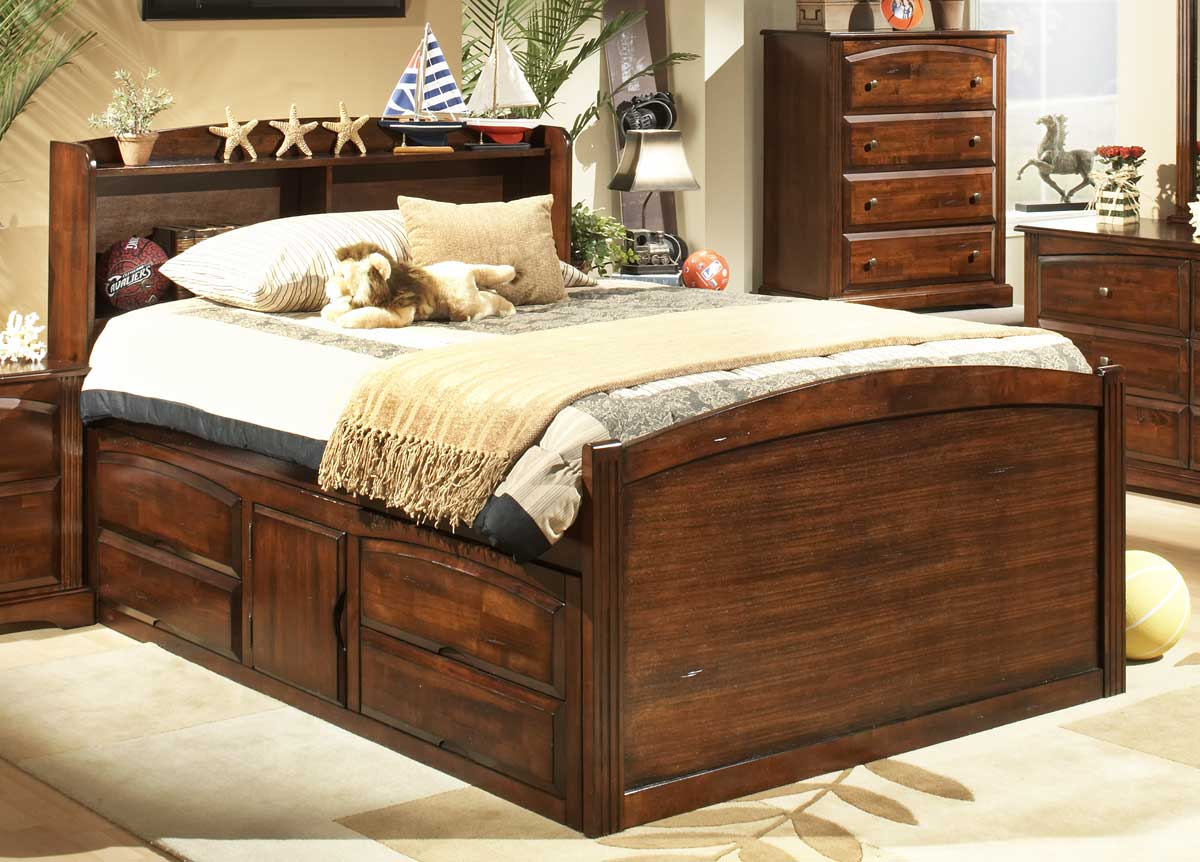 Homelegance truckee captains bed with understorage 827pe 1 for H plan bedroom furniture
