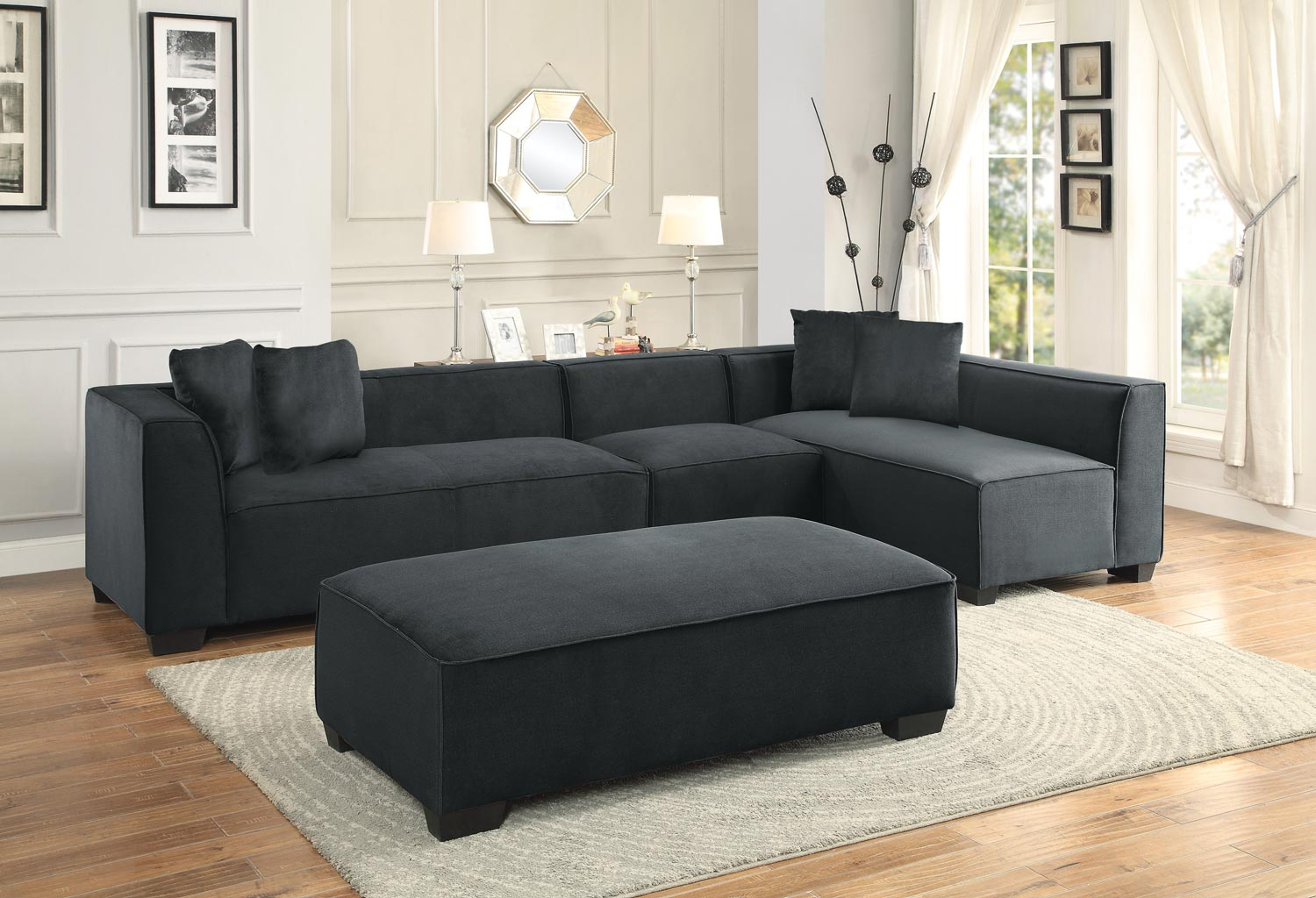 Homelegance Metz Sectional Sofa Set A - Polyester - Graphite