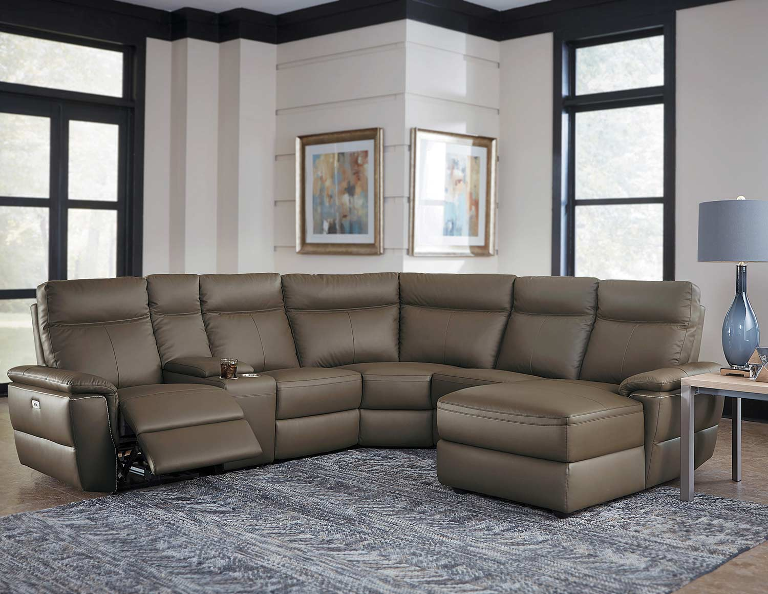 Homelegance Olympia Reclining Sectional Set Raisin Top Grain