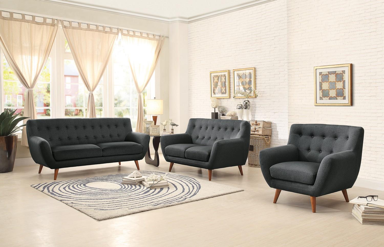 Homelegance Anke Sofa Set - Polyester - Dark Grey