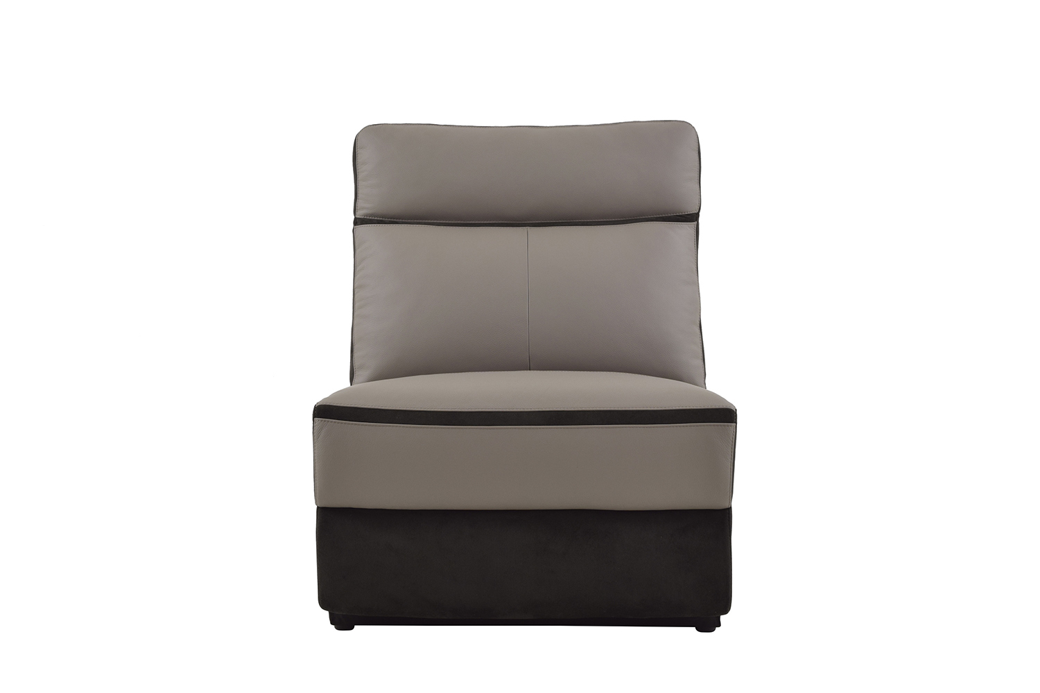 Homelegance Laertes Armless Chair - Top Grain Leather/Fabric - Taupe Grey