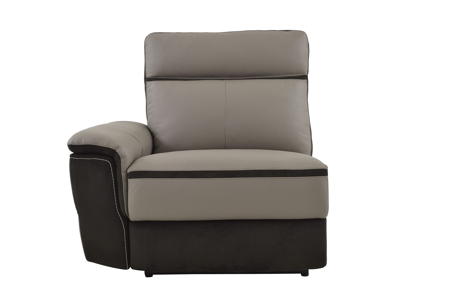 Homelegance Laertes Power Left Side Reclining Chair - Top Grain Leather/Fabric - Taupe Grey