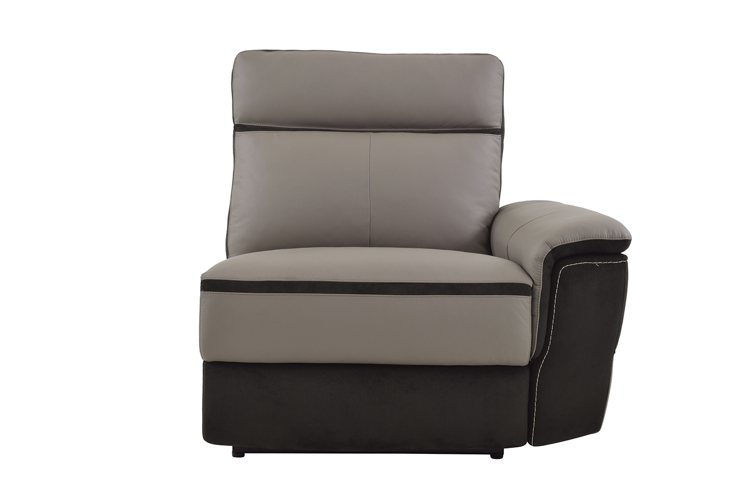 Homelegance Laertes Power Right Side Reclining Chair - Top Grain Leather/Fabric - Taupe Grey