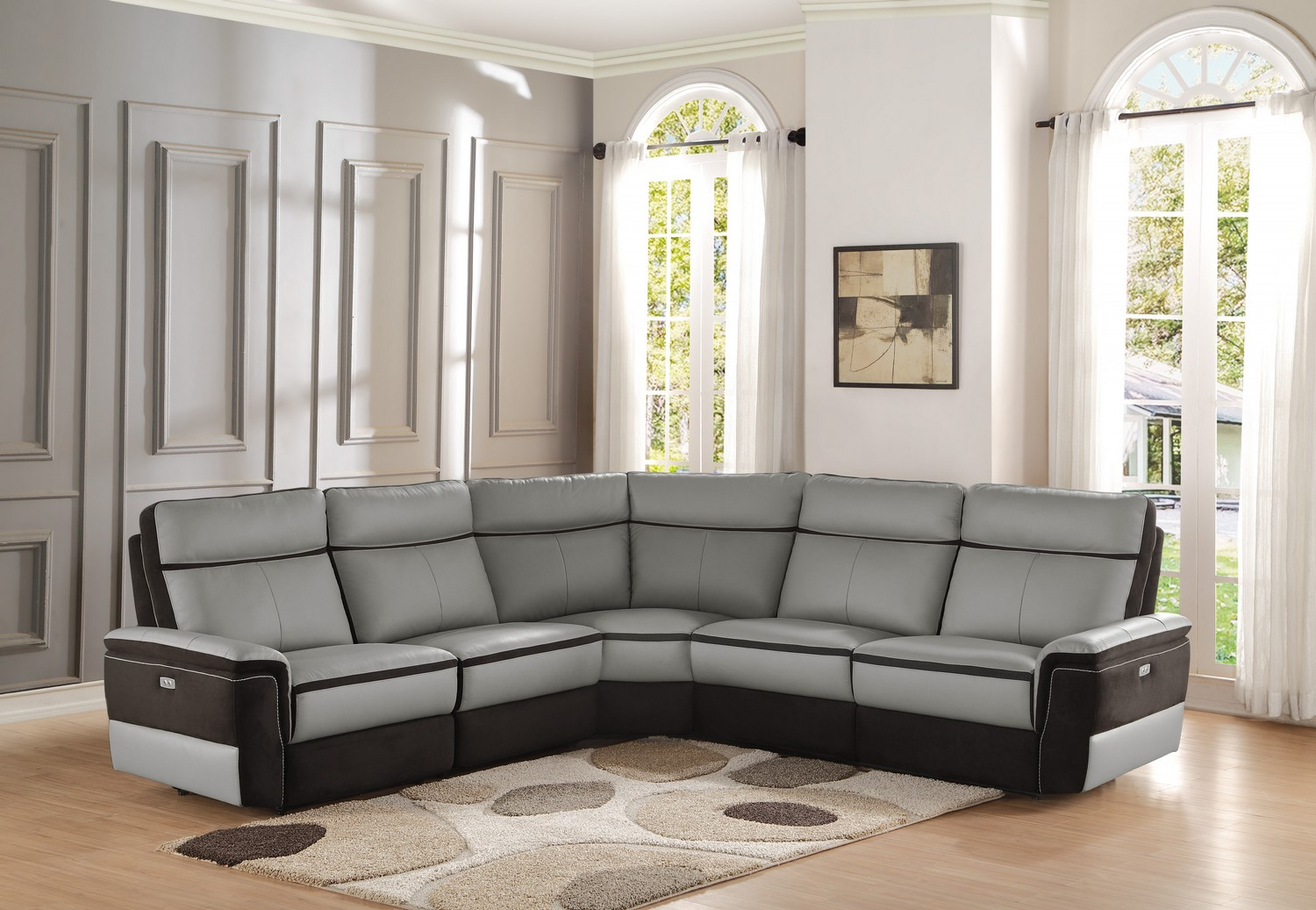 Homelegance Laertes Reclining Sectional Sofa Set Top Grain Leather Fabric Taupe Grey