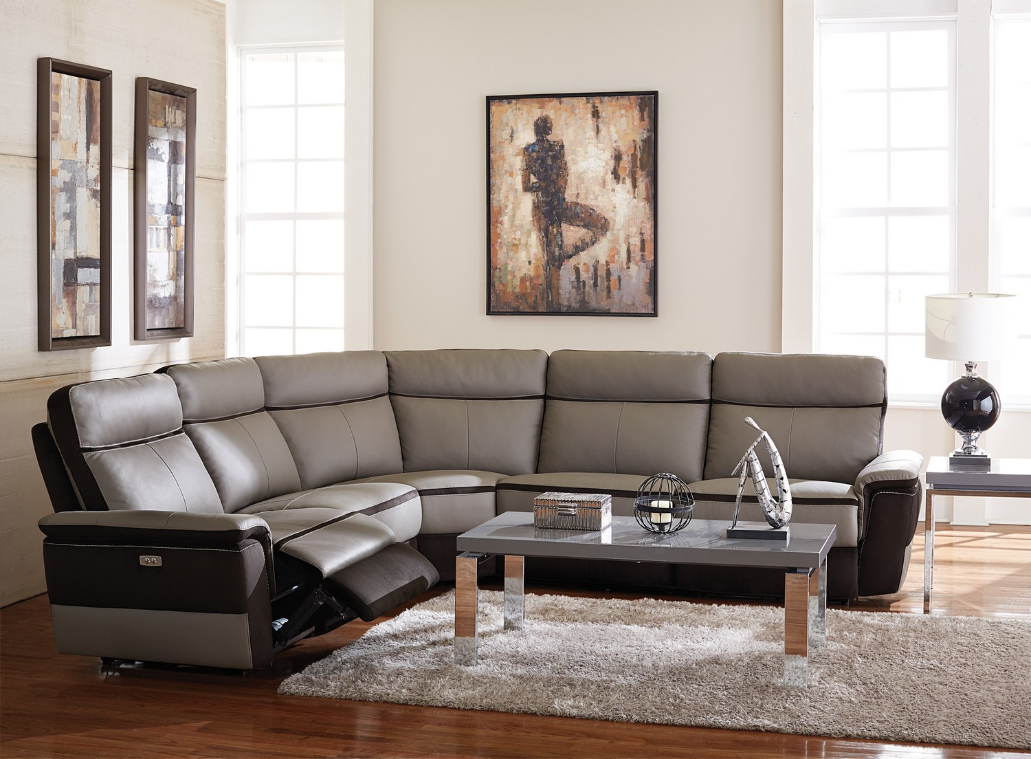 Homelegance Laertes Power Reclining Sectional Sofa Set - Top Grain Leather/Fabric - Taupe Grey