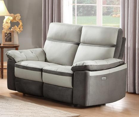 Homelegance Otto Power Double Reclining Love Seat - Top Grain Leather - Light Grey
