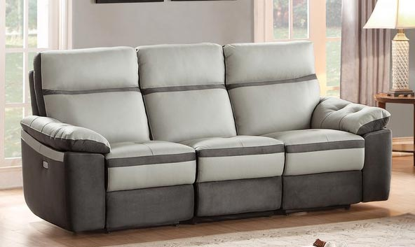 Homelegance Otto Power Double Reclining Sofa - Top Grain Leather - Light Grey